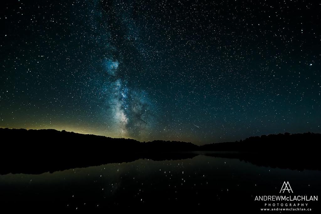 Milky Way Nightscape over Horseshoe Lake, Muskoka, Ontario, Canada