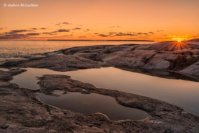 Sunset at Kathwerine Cove on Lake Superior