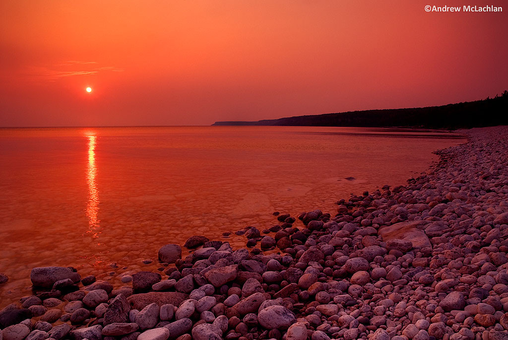 Sunrise at Halfway Log Dump on Georgian Bay, Bruce Peninsula National Park, Ontario