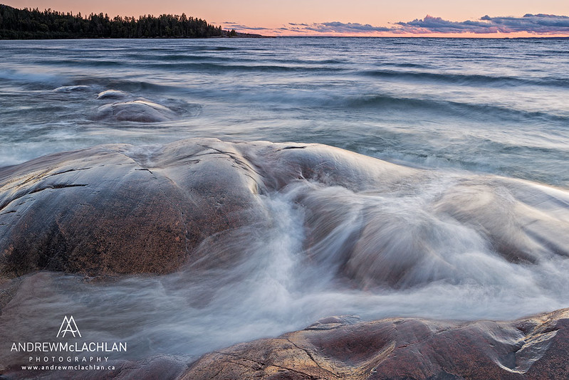Lake Superior at Sunset in Neys Provincial Park, Ontario, Canada