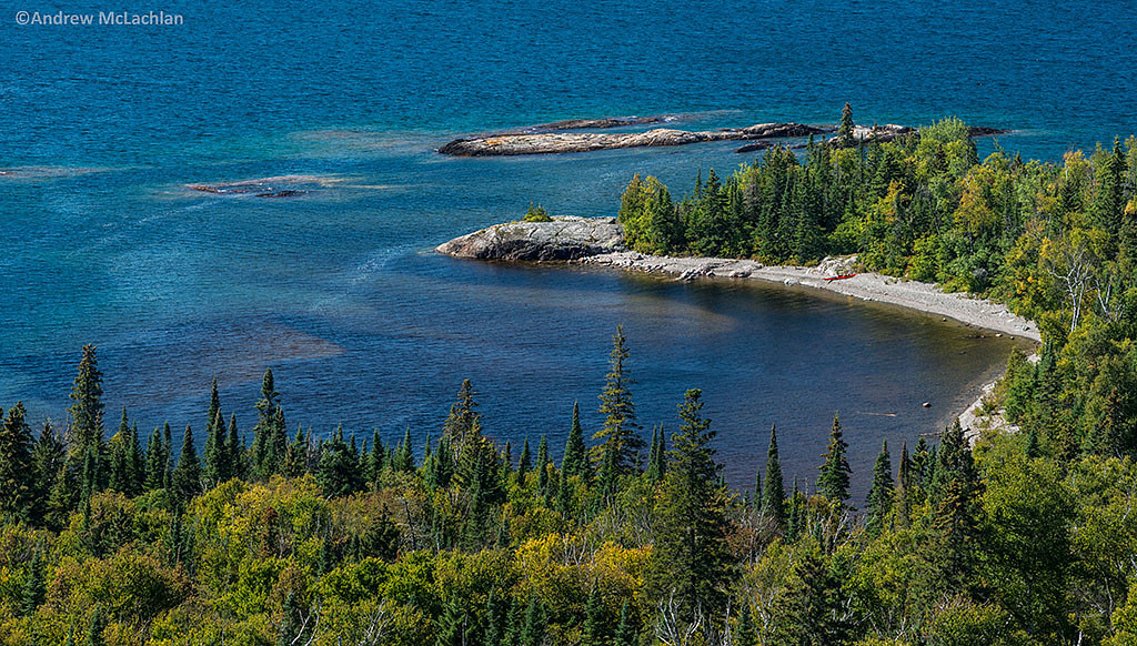 Scenic View of Lake Superior at the Mouth of the Baldhead River from the Orphan Lake Trail, Lake Superior Provincial Park, Ontario