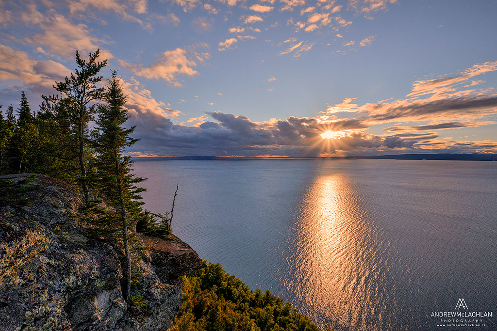 Sunset over Thunder Bay on Lake Superior in Sleeping Giant Provincial Park, Ontario