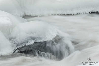 Oxtongue River in winter, Ragged Falls Provincial Park, Ontario, Canada