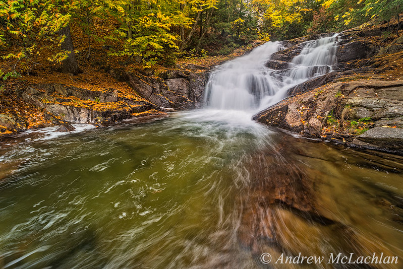Autumn Color at Hatchery Falls on the Skeleton River, Rosseua, Ontario, Canada