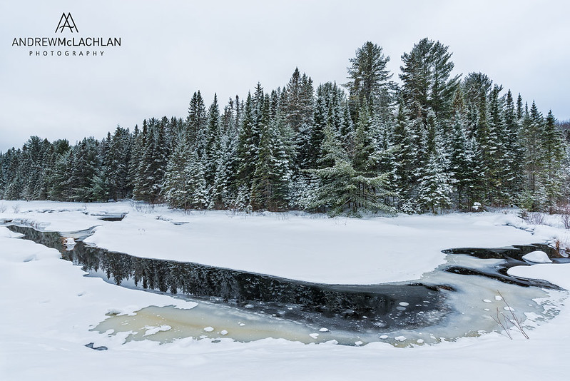 Costello Creek in WInter. Algonquin Provincial Park, Ontario, Canada