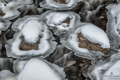 Winter Details on Potts Creek, Muskoka, Ontario, Canada