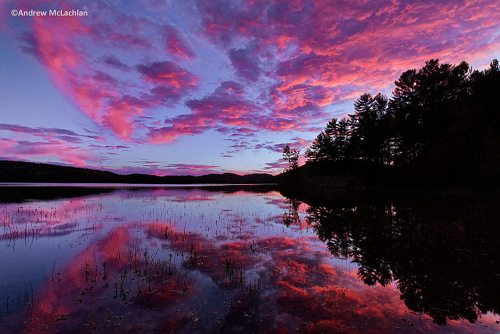 Sunset at Grand Lake in Algonquin Provincial Park, Ontario