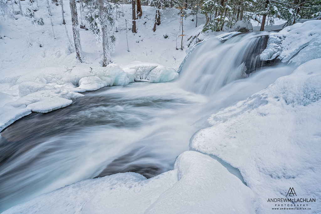 Skeleton River at Skeleton Falls in Winter, Muskoka, Ontario, Canada