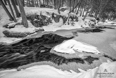 Potts Creek in winter near Bracebridge, Ontario, Canada