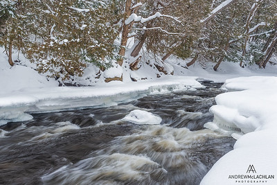 Magnetawan River in  winter, in Ontario's Almaguin Highlands, Canada