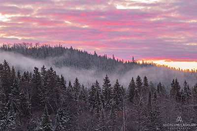 Sunrise over the Borela Forest near the Pic River, Marathon, Ontario, Canada