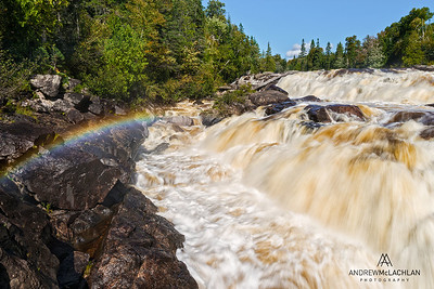 Rainbow in Mist, Sand River, Lake Superior Provincial Park, Ontario, Canada