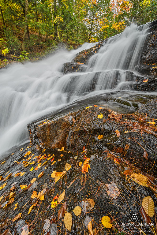 Autumn at Hatchery Falls on the Skeleton River in Muskoka, Ontario, Canada