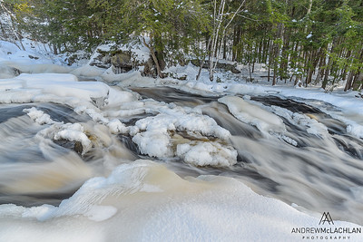 Rosseau River in winter, Muskoka, Ontario, Canada