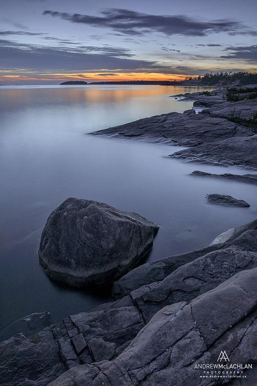 Sunset on Georgian Bay at Killbear Provincial Park, Ontario, Canada