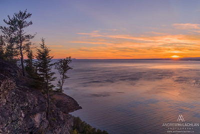 Sunset over Thunder Bay on Lake Superior, Ontario, Canada