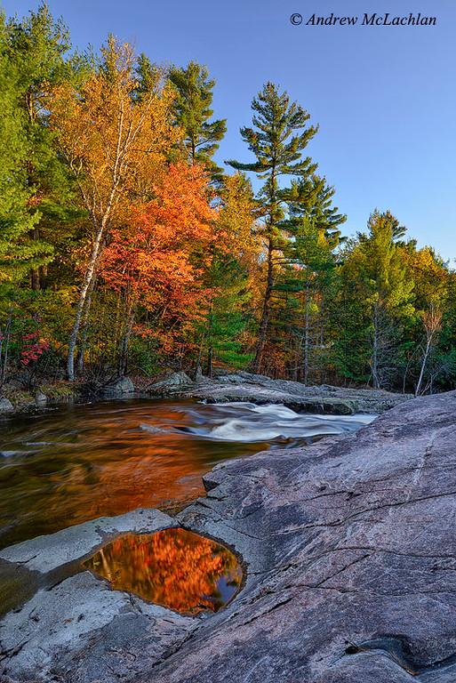 Autumn Colour at Lower Rosseau Falls in Muskoka