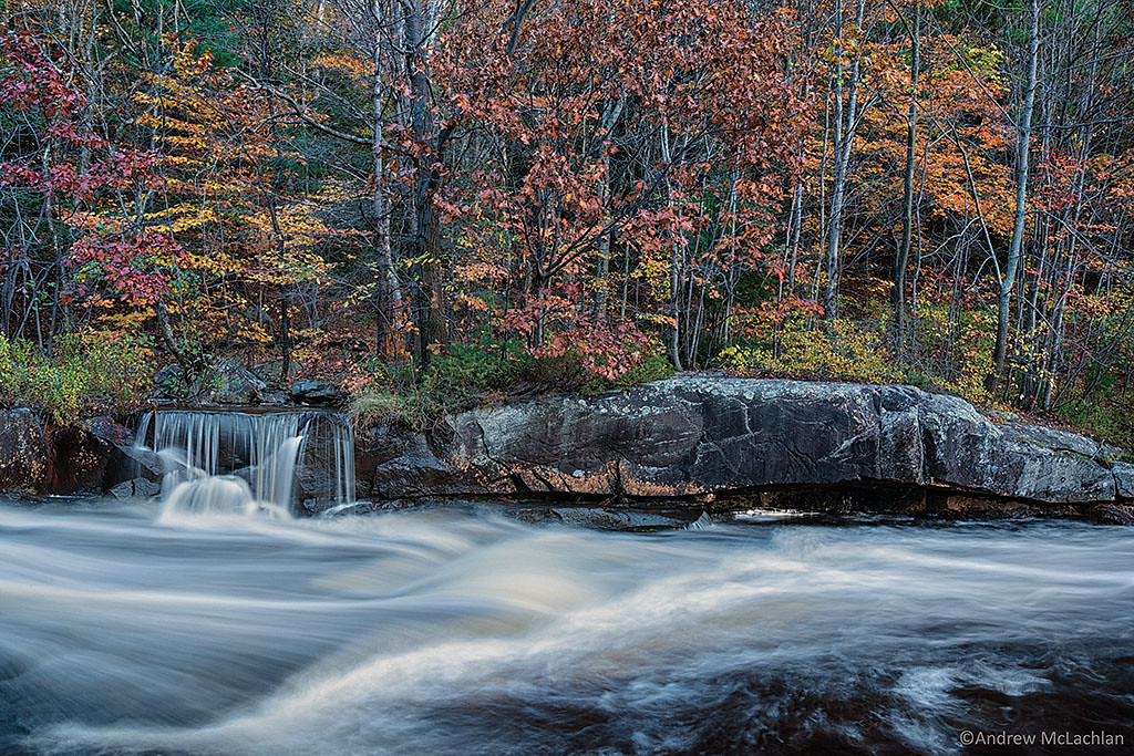 Fall Color at Lower Rosseau Falls on the Rosseau River, Muskoka, Ontario