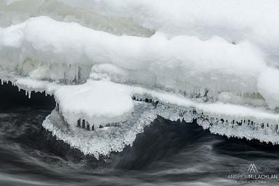 Magnetawan River in  winter, in Ontario's Almaguin Highlands, Canada