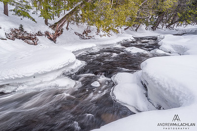 Winter on the Magnetawan River in the Almaguin Highlands, Emsdale, Ontario, Canada