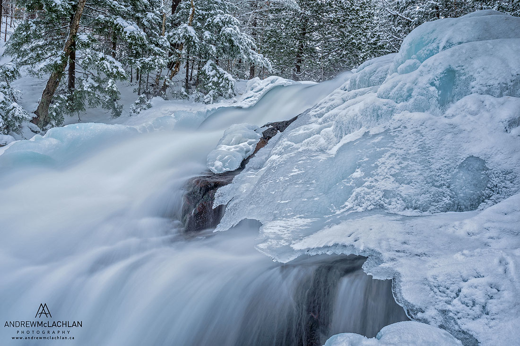 Winter at Hatchery Falls on the Skeleton River in Muskoka, Ontario, Canada