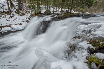 Skeleton River in winter at Skeleton Falls, Rosseau, Ontario, Canada