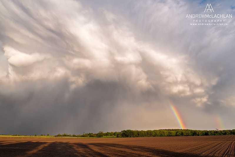 Rainbow and passing storm over agricultural fields near Thornton, Ontario, Canada