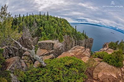 Fisheye View of Lake Superior from The Top of the Giant Trail in Sleeping Gian Provincial Park, Ontario, Canada