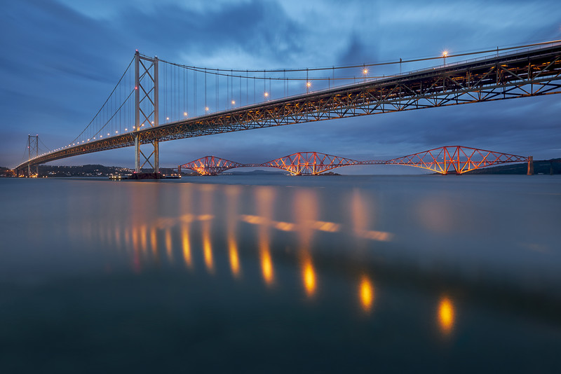 The Forth Bridges during blue hour
