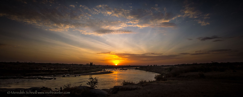 Sunset over the Mara River in the Northern Serengeti