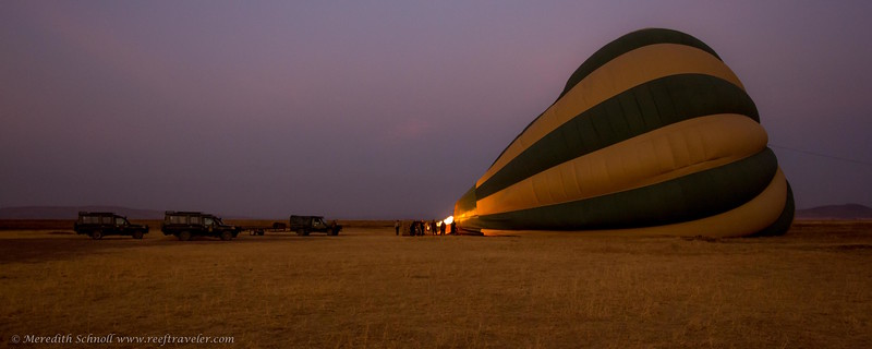 Hot Air Balloon Lift-off in the central Serengeti
