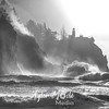 22  G Cape Disappointment Waves and Mist BW