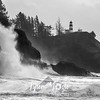 7  G Cape Disappointment Waves Crash BW