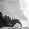 16  G Cape Disappointment Waves and Cloud BW V