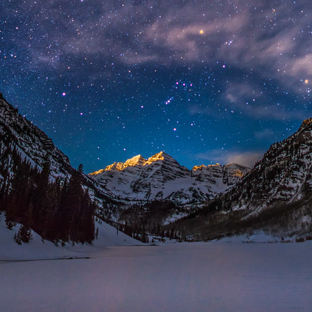 "Winter Moonrise at the Maroon bells                                                  To purchase a print please click the ""buy"" button on the top right to add the image to the cart  Prints are available in three surface finishes. Luster is a semigloss surface, Glossy is a smooth glossy finish and Metallic is printed on a special paper with a metallic backing. The metallic paper is by far my favorite paper"
