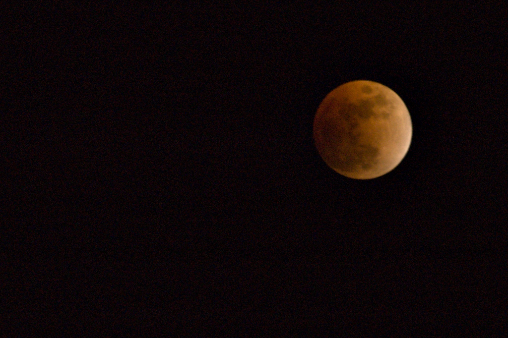 Braved the cold (it's 5.5 deg F right now) to take a few pics of the eclipse. I experimented with longer shutter times and a wider frame to get more stars in the background, but at times around 10+ seconds, everything gets blurred from the earth's rotation. So here's one of my earlier shots at shorter shutter speeds.