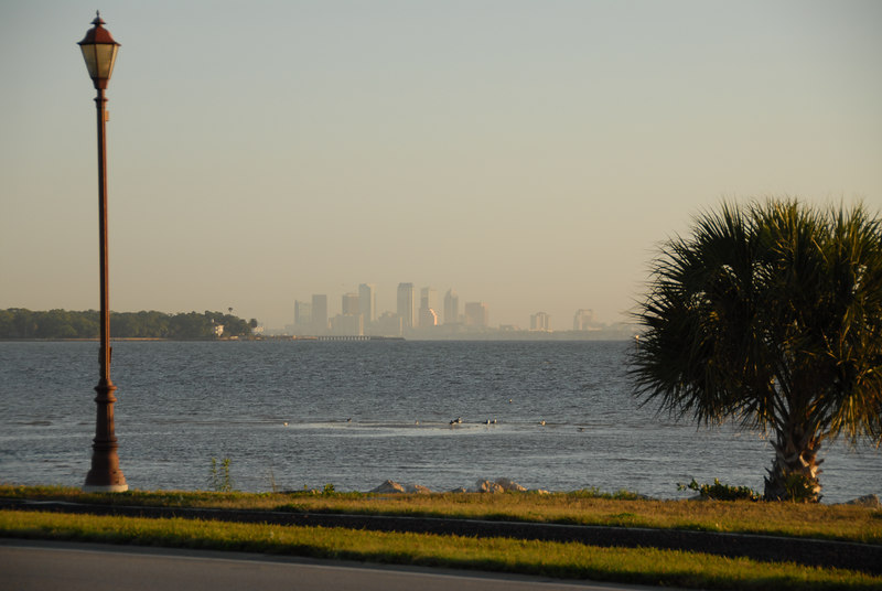 """This is the view of the Tampa skyline I see every day when I leave base.  Taken on """"Cloudy"""" WB."""