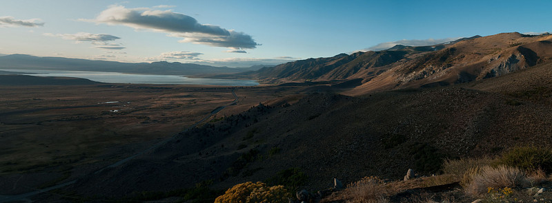 Hwy 395 drops from Conway Summit to Lee Vining along the eastern escarpment of the Sierra Nevadas just after sunrise.