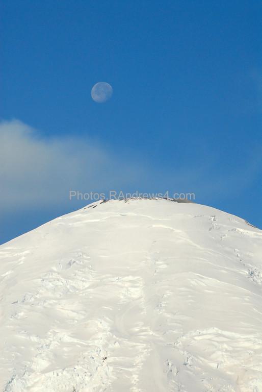 Moon over Mt. Rainier peak