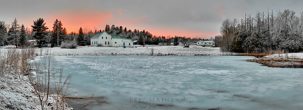 """Pond in Lee, Maine  Images: 69 Exposures: 3 Bracketing: 4 stops (±2EV) Rows: 2 Columns: 11 Size: 52.7 megapixels, 11200 x 4059, 37.33"""" x 13.53"""" @ 300dpi, 52.49MB Field of View: 113.8 degrees, 14.10mm focal length Camera: Nikon D70 Lens: Nikon AF-S 24-70mm f/2.8G ED Focal Length: 48mm (72mm effective) ISO: 200 Aperture: f/8 Shutter: 1/30, 1/8, 1/2"""