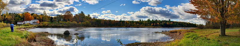 """Mill Pond, Lee, Maine 2010-10-18-16387-16435  Images: 32 Exposures: 4 Bracketing: -1, 0, +1, +2 Rows: 1 Columns: 8 Size: 29.33 megapixels, 12411 x 2363, 41.37"""" x 7.88"""" @ 300dpi Field of View: 144.5 degrees, 6.8mm effective focal length Camera: Nikon D700 Lens: Nikon AF-S 24-70mm f/2.8G ED Lens Focal Length: 40mm ISO: 200 Aperture: f/11 Shutter: 1/800 to 1/100"""