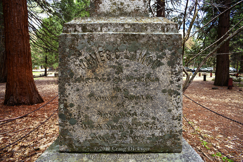 "Gravestone of James Lamon, ""pioneer settler of Yosemite"" (d. 1875)"