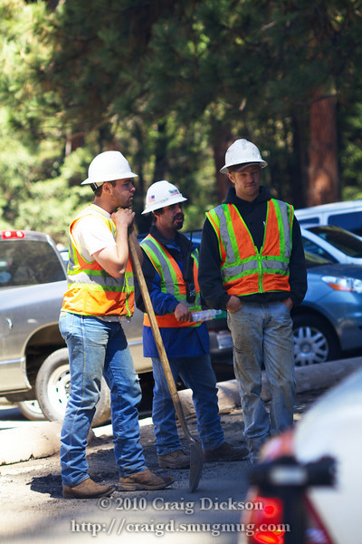Road workers near the Ahwahnee Hotel