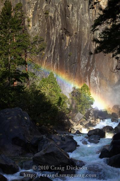 Early morning rainbow at the base of the Yosemite Falls