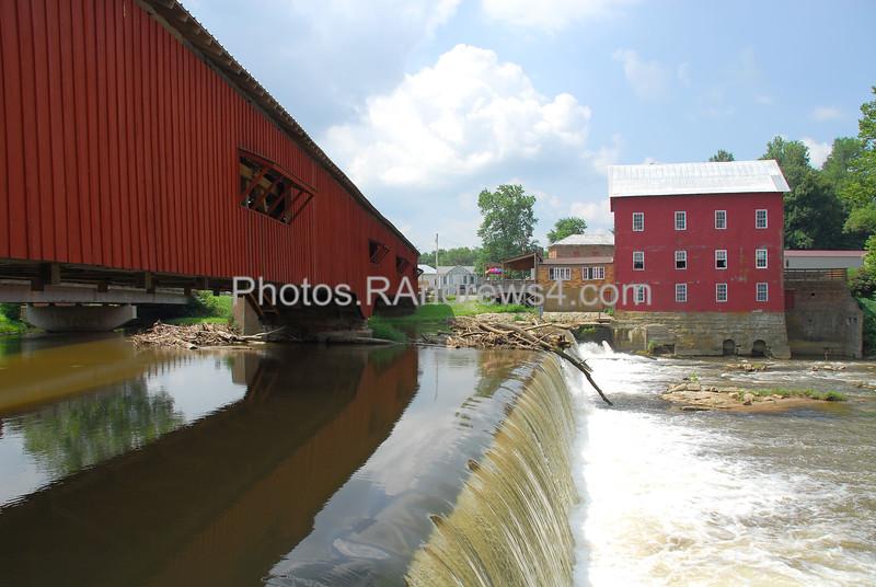 20100717 Mill, Mill Dam, and Bridge at Bridgeton, IN
