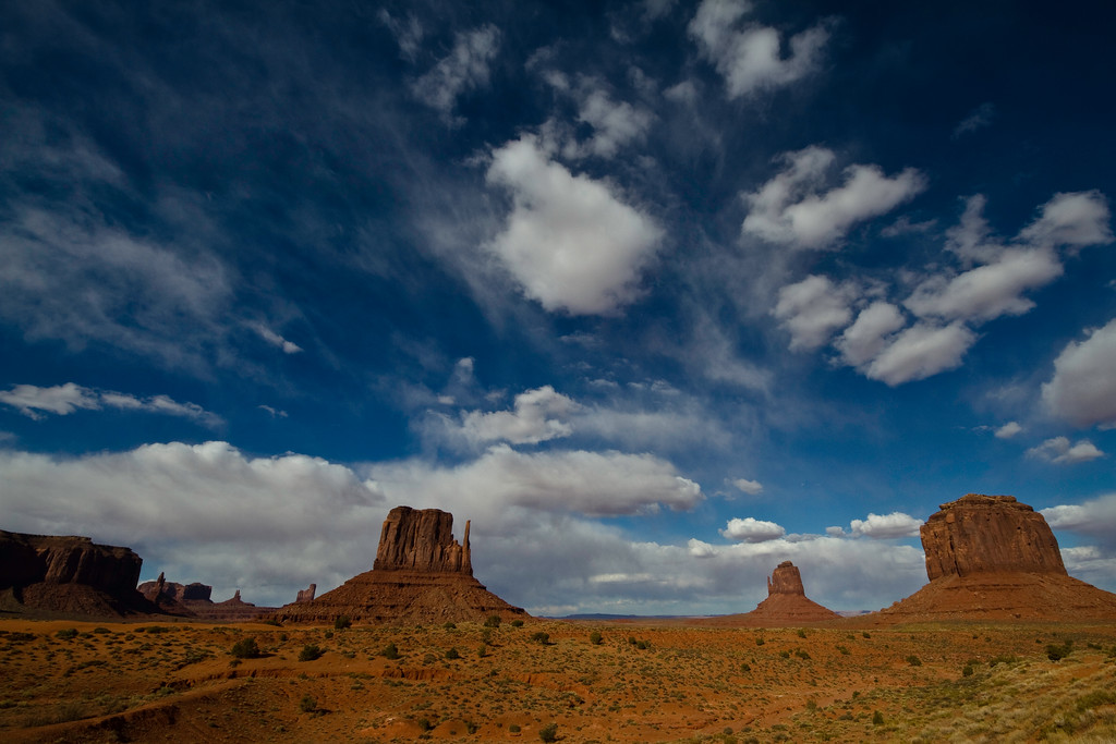 Monument Valley, on the Arizona/Utah state line.<br /> <br /> (I loved the sky here.)