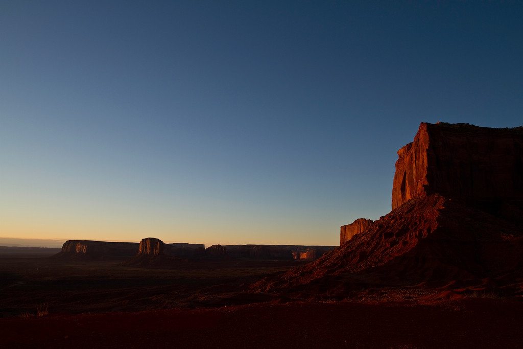 Sunrise in Monument Valley, on the Arizona/Utah state line.