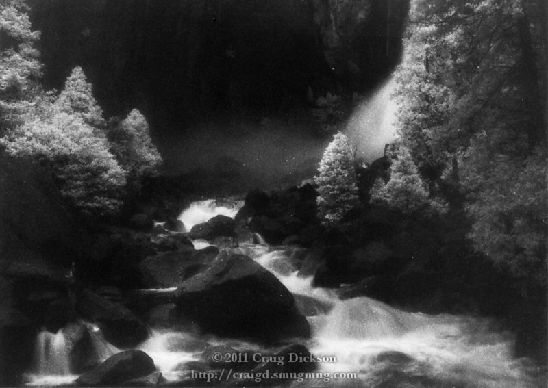 At the base of the Yosemite Falls (infrared)