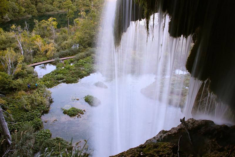 Through the waterfall, Plitvice