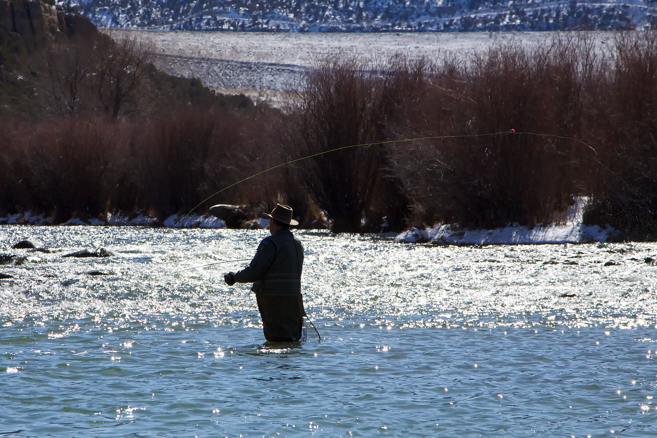 Fly fisherman on the San Juan River, New Mexico, March 2012.